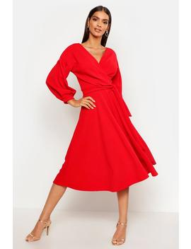 Off The Shoulder Wrap Midi Skater Dress by Boohoo
