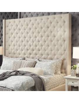 Beige Borchers Upholstered Wingback Headboard by Three Posts