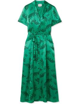 Long Maria Printed Silk Satin Midi Dress by Hvn