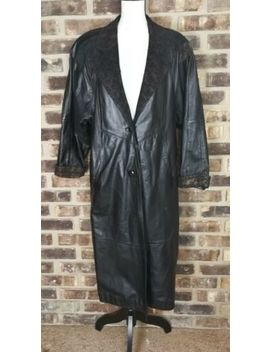 Maggie Lawrence Women's Coat Full Length Leather Black W Suede Accent Size Small by Maggie Lawrence