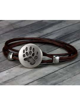 Leather Bracelet   Bear Paw   Leather Wrap Bracelet   Animal Leather Bracelet   Mens Leather Bracelet   Womens Leather Bracelet   Bear   Paw by Etsy