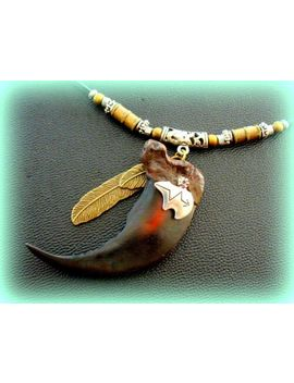 """2 5/8"""" Large Indian Style Bear Claw Replica Necklace Jewelry   W/ Bear Feather by Ebay Seller"""