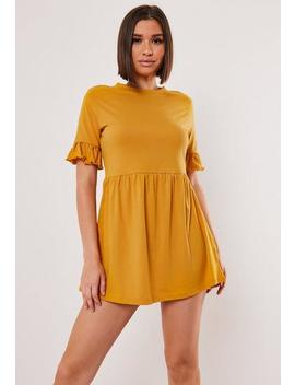 Mustard Jersey Frill Sleeve Smock Dress by Missguided