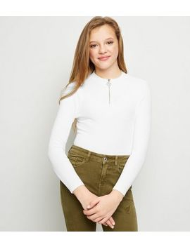 Girls White Ribbed Half Zip Long Sleeve Top by New Look