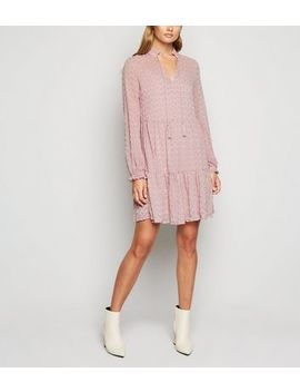 Pale Pink Lace Tiered Smock Dress by New Look