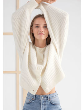 Oversized Ribbed Crewneck Cardigan by & Other Stories