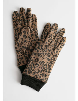 Wool Blend Leopard Print Gloves by & Other Stories