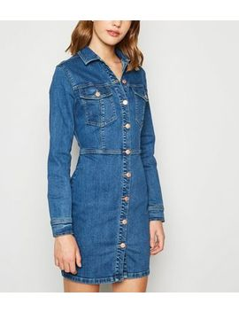 Blue Denim Long Sleeve Bodycon Dress by New Look