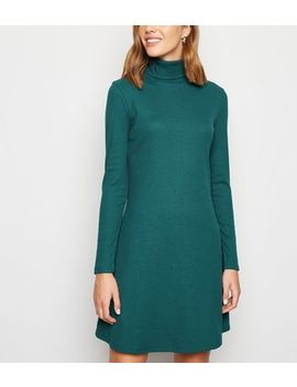 Dark Green Ribbed Roll Neck Swing Dress by New Look