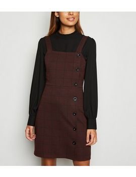 Red Check Button Side Pinafore Dress by New Look