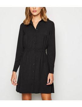 Black Elasticated Waist Mini Shirt Dress by New Look