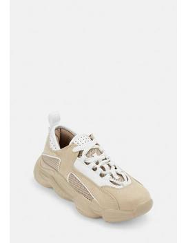 Nude Faux Suede Triangle Panel Chunky Trainers by Missguided