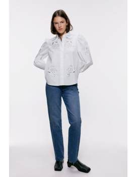 camisa-de-popelina-com-bordado-perfurado by zara