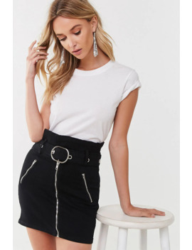 Belted Zip Up Denim Skirt by Forever 21