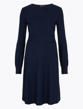 Ribbed Fit & Flare Dress by Marks & Spencer