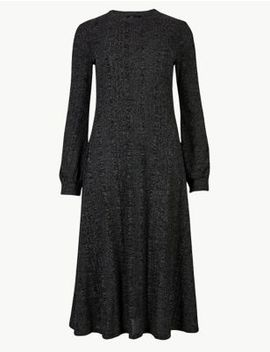 Jersey Cuff Sleeve Swing Midi Dress by Marks & Spencer