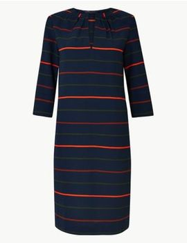Striped 3/4 Sleeve Shift Dress by Marks & Spencer