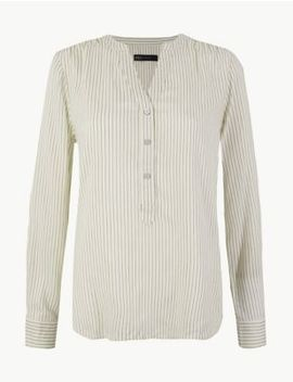 Striped Long Sleeved Popover Blouse by Marks & Spencer