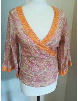 Sisley Cotton Wrap Around Orange And Pink Top. Xs by Sisley