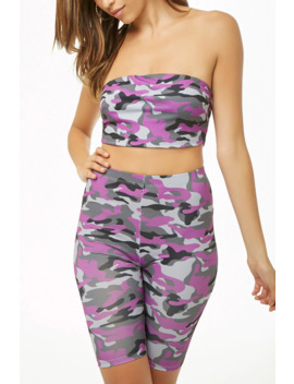 Camo Cropped Tube Top & Biker Short Set by Forever 21