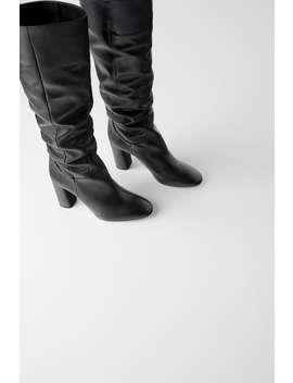 Leren Laarzen Met Hak Schoenendames Shoes & Bags by Zara