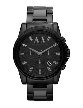Watch, Men's Chronograph Black Ion Plated Stainless Steel Bracelet 45mm Ax2093 by General