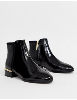 River Island Flat Ankle Boots With Faux Pearl Heel Detail In Black Patent by River Island