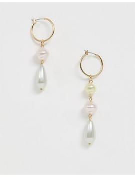 Asos Design Hoop Earrings With Pastel Pearl Drops In Gold Tone by Asos Design