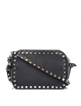 Valentino Calfskin Rockstud Camera Crossbody Bag Black by Valentino