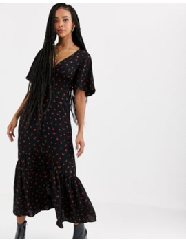 Pull&Bear Cherry Print Midi Dress In Black by Pull&Bear