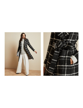 Checked Belted Wrap Coat by Ted Baker