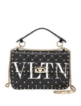 Spike.It Medium Vltn Logo Quilted Leather Shoulder Bag by Valentino Garavani