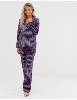 Asos Design Maternity – Gestreiftes Pyjama Set Mit Shirt Und Hose Aus 100 Percents Modal by Asos