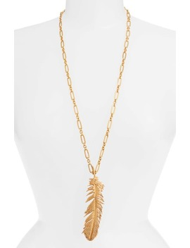 Feather Pendant Necklace by Oscar De La Renta