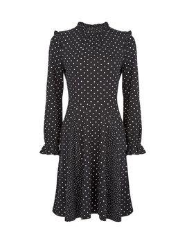 Black Spot Print Frill Neck Swing Dress by Dorothy Perkins