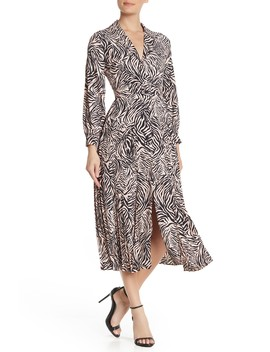 Long Sleeve Belted Zebra Dres by Topshop
