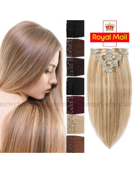 8 Pcs Clip In Remy Hair Extensions 100% Real Human Hair Extension Blonde Brown C6 by Ebay Seller