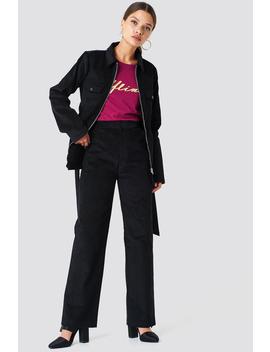 Straight Corduroy Pants Black by Na Kd