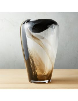 Surge Black And White Glass Vase by Crate&Barrel