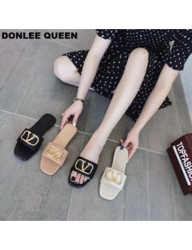 Donlee Queen Brand Slippers 2019 Summer Flip Flops Beach Slide Gladiator Sandal Metal Buckle Slipper For Women Flat Casual Shoe by Ali Express.Com