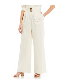Belted Kyra Pleated Wide Leg Ankle Pant by Antonio Melani