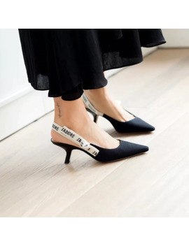 Zhenzhou Stylish Bow Knots Ladies Pumps & Sandals Pointed Letters Fashion Cats Heels Back Empty Women's Slingback Pumps Shoes by Ali Express.Com