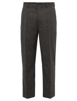 Striped Herringbone Twill Slim Leg Trousers by Hope