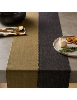 Ryder Black And Green Table Runner by Crate&Barrel