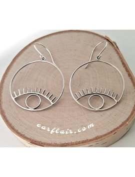 Eye Earrings | Bold Earrings | Fun Statement Earrings | Silver Hoop Earrings | Modern Earrings | Playful Earrings For Girls| Cute Gift| E202 by Etsy