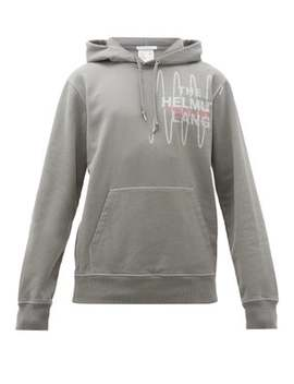 Logo Embroidered Cotton Hooded Sweatshirt by Helmut Lang