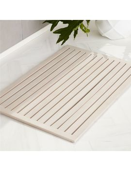 "Lateral Teak White Wash Bath Mat 21.75""X32"" by Crate&Barrel"
