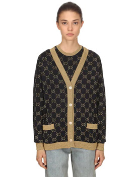 Gg Supreme Lurex &Amp; Cotton Knit Cardigan by Gucci