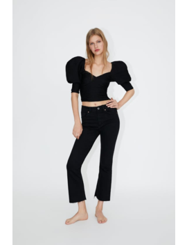 Jeans Mid Rise Cropped Flare Ver Tudo Jeans Mulher by Zara