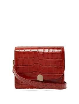 Mini Crocodile Effect Leather Shoulder Bag by Hillier Bartley